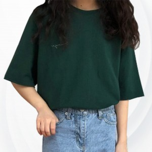 Solid Color  Half Sleeves O Neckline  T-Shirt - Green