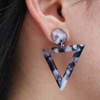 Triangular Textured Spiral Earrings Set - Grey