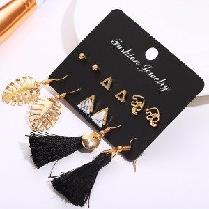 Six Pieces Multi Shaped Tassel Earrings Pair Set