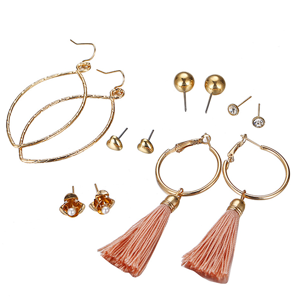 Tassel Style With Multi Shaped Crystal Earrings Pairs