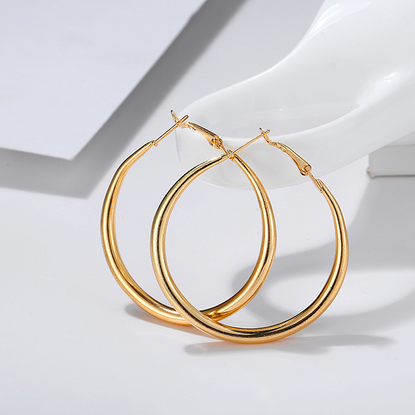 Classic Gold Plated Hook Lock Earrings - Golden