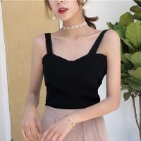 Camisole Ribbed Pattern Summer Vest - Black