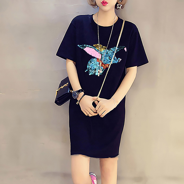 Sequins Decorated Summer Loose Long T-Shirt - Black