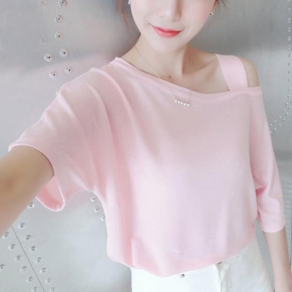 Slash Neck Casual Wear T-Shirt - Pink