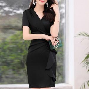 Ruffled V Neck Wrapped Bodycon Mini Dress - Black