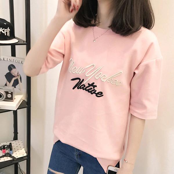 Letter Printed Half Sleeves O Neckline T-Shirt - Pink