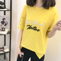 Letter Printed Half Sleeves O Neckline T-Shirt - Yellow