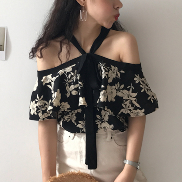 Halter Strap Floral Prints Summer Blouse Top