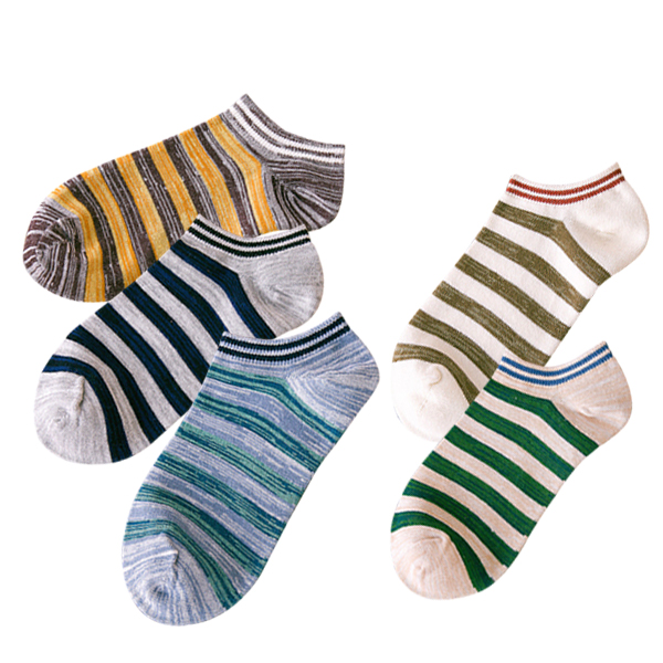 Striped Colorful Five Pieces Summer Socks Bundle