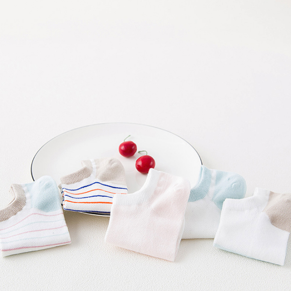 Colorful Pink Striped Light Summer Socks Pair