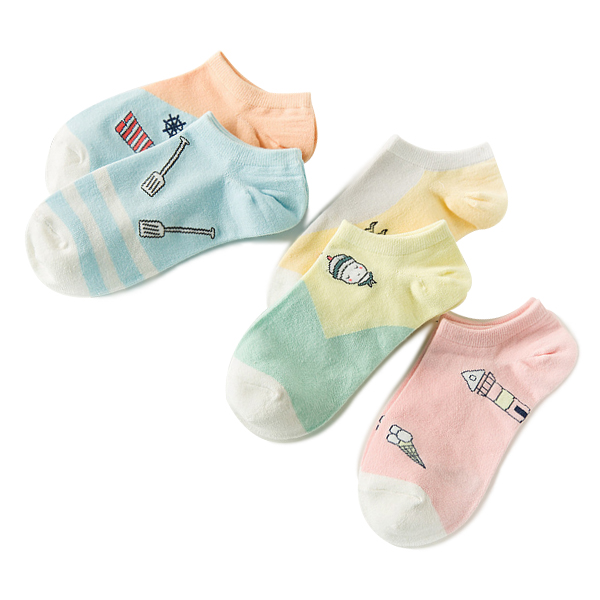 Light Multicolored Five Pieces Summer Socks Bundle