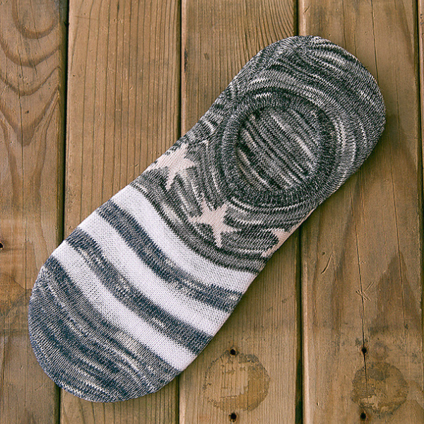 Printed Stripes Grey Contrast Socks Pair