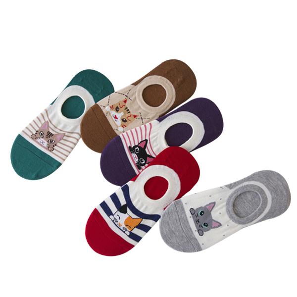Kitten Printed Multicolor Five Pieces Socks