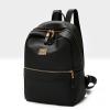 Golden Zipper Nylon Canvas Backpacks - Black
