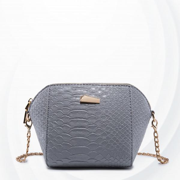 Crocodile Skin Chain Strapped Messenger Bags - Dark Grey