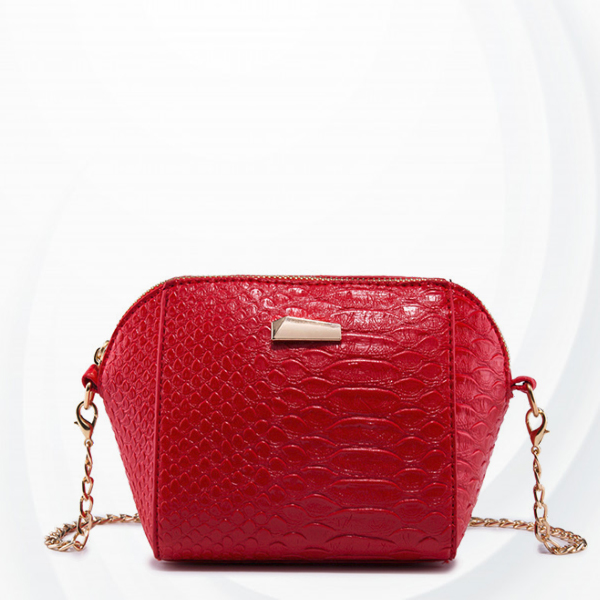 Crocodile Skin Chain Strapped Messenger Bags - Red