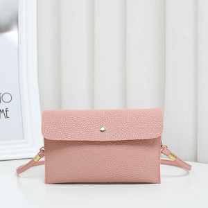 Leather Texture Strapped Messenger Bags - Pink