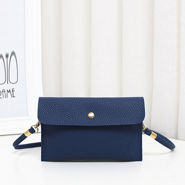 Leather Texture Strapped Messenger Bags - Blue
