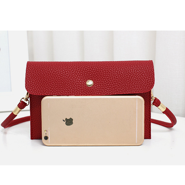 Leather Texture Strapped Messenger Bags - Red