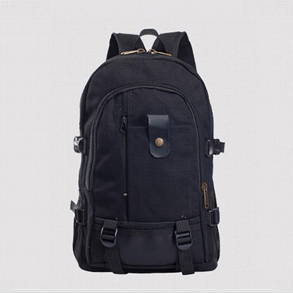 Multi Zipper Pockets Wide Space Backpacks - Black