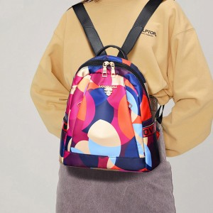 Canvas Colorful Prints Zipper Mini Backpacks