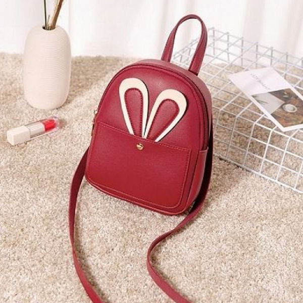 Rabbit Ear Round PU Mini Shoulder Bags - Burgundy
