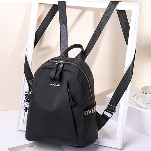 Zipper Closure PU Leather Formal Backpacks - Black