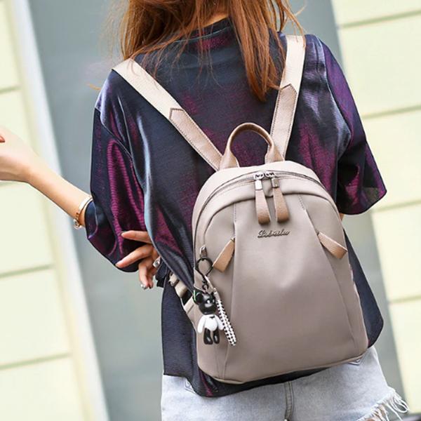 Zipper Closure PU Leather Formal Backpacks - Grey