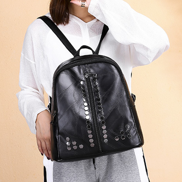 Rivets Decorated Textured Leather Backpacks - Black