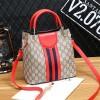 Designers Contrast Shoulder Bucket Bags - Red