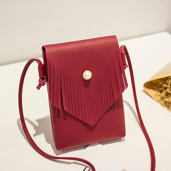 Tassel Flap Pearl Decorated Shoulder Bags - Burgundy