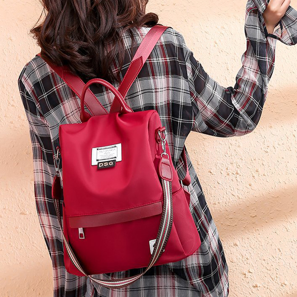 Canvas Casual Wide Space Backpack - Red