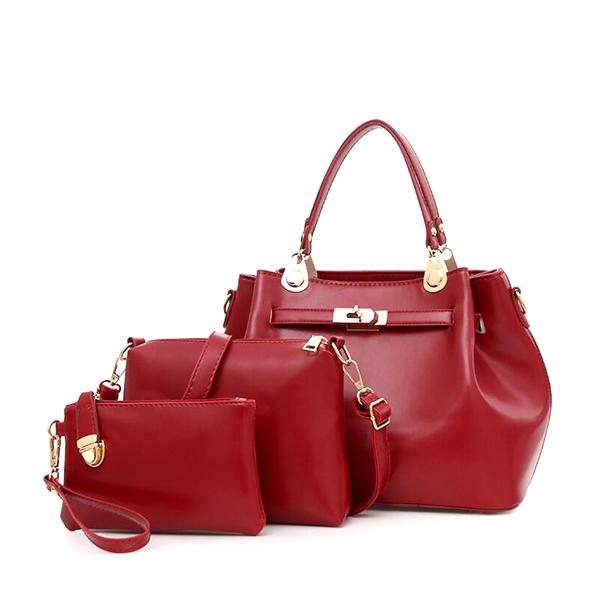 PU Leather Retro Shoulder Diagonal Cross Bucket Bag Red