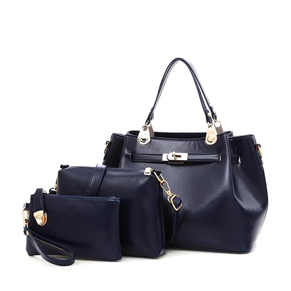 PU Leather Retro Shoulder Diagonal Cross Bucket Bag Blue