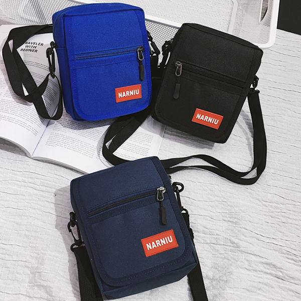 Two Pocket Zipper Diagonal Shoulder Bags - Blue