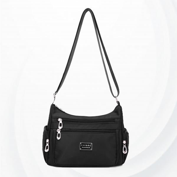 Nylon Zipper Plain Strapped Messenger Bags - Black