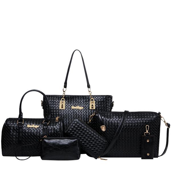 Weave Pattern Six Piece Luxury Women Bag Set Black