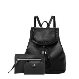 Female Fashion Backpack PU Leather 3 Piece Bag Set