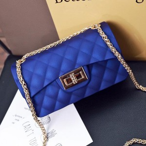 Patchwork Chain Strapped Party Shoulder Bags - Blue