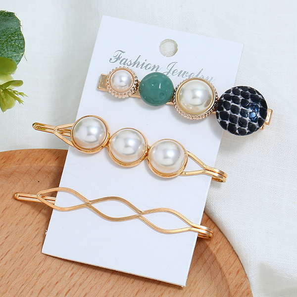 Three Pieces Gold Plated Pearl Hair Clips - Black