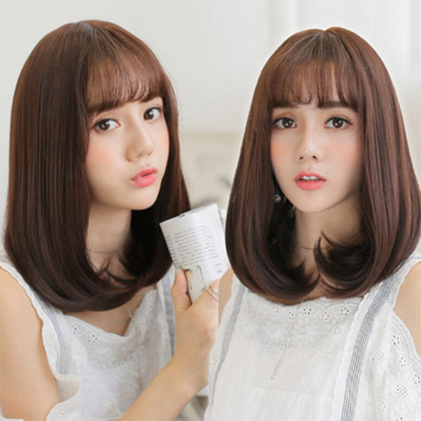 Folded Ends Formal Cuts Fake Hairs - Brown