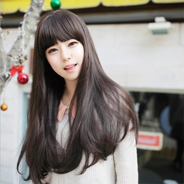 Straight Hairs Long Length Fake Hair Wig - Dark Brown
