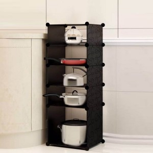 Five Layered Multi Purpose Kitchen Rack - Black