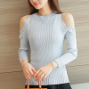 Cold Shoulder Ribbed Full Sleeves T-Shirt - Grey