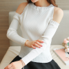 Cold Shoulder Ribbed Full Sleeves T-Shirt - White
