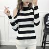Cold Shoulder Ribbed T-Shirt - Black Striped