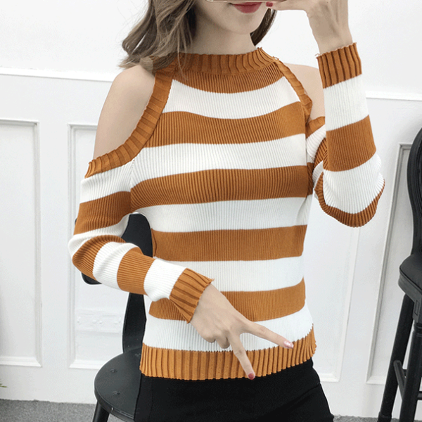 Cold Shoulder Ribbed T-Shirt - Brown Striped
