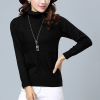 High Neck Check Patched Long Sleeves T-Shirt - Black