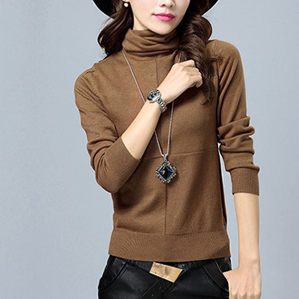 High Neck Check Patched Long Sleeves T-Shirt - Brown