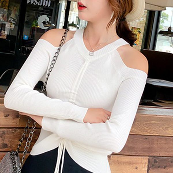 Halter Neck Cold Shoulder Ribbed T-Shirt - White